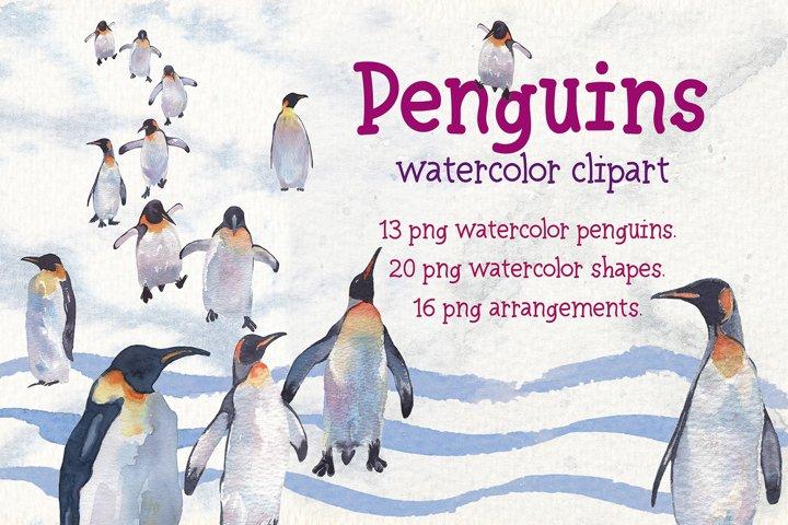 Penguins watercolor clipart