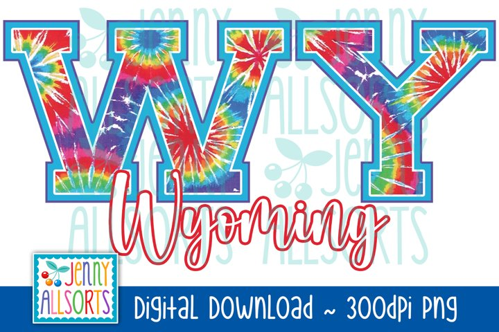 WY Wyoming Tie Dye Sublimation Design, US State Letters