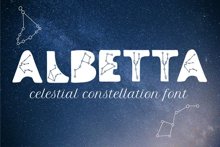 Albetta. Celestial Ancident Display Font with stars constell