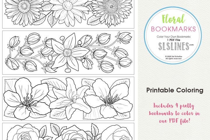 Beautiful Floral Bookmarks to Color