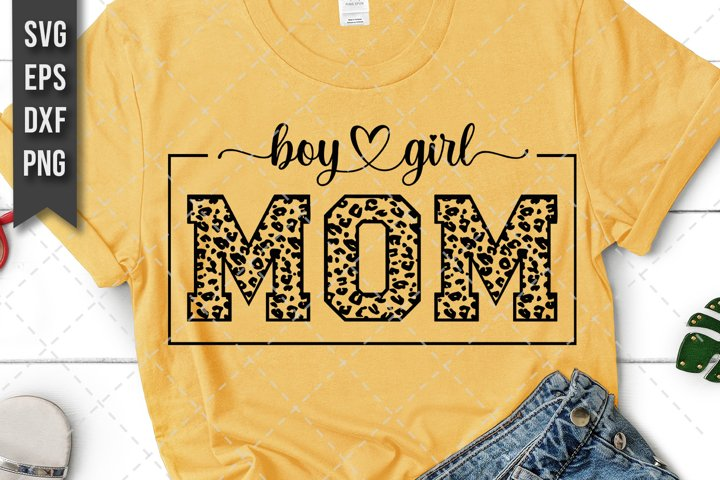 Mom Of Both, Boy And Girl Mother Svg, Png, Leopard Print
