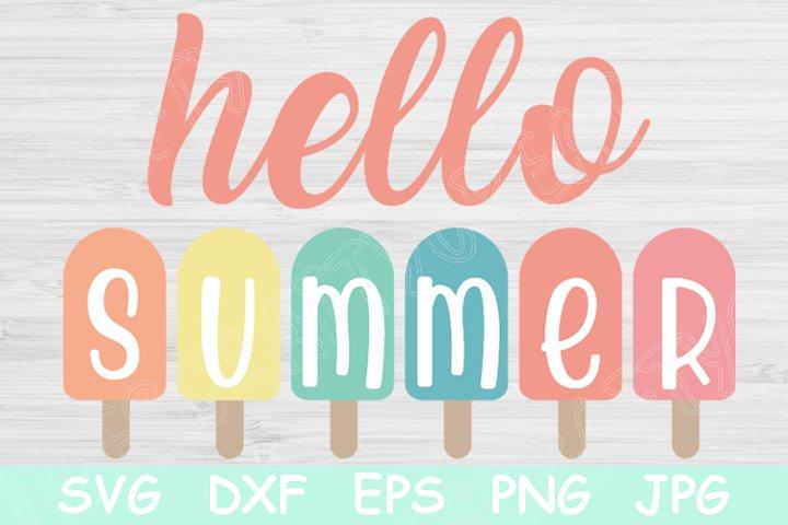 Hello Summer Svg Files for Cricut. Popsicles Svg Cut Files.