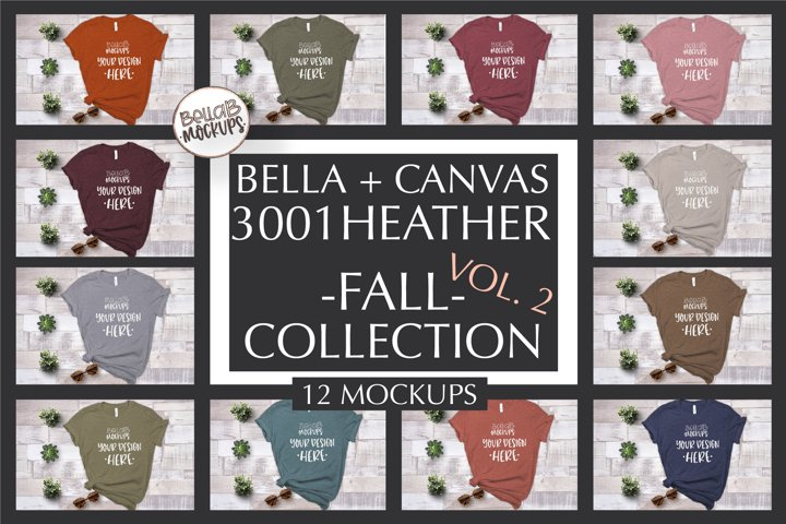 Bella Canvas T Shirt Mockup Bundle, Heather 3001-Autumn-Fall