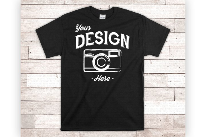 Black T Shirt Mockup On White Wood Mens Black Shirt