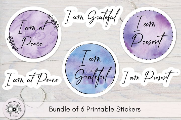 Stickers Inspirational Quotes - Peace Grateful Present Yoga