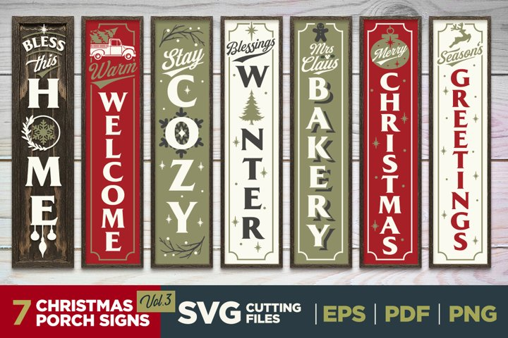 Christmas Porch Signs   Vol.3  Vertical Signs   SVG Bundle
