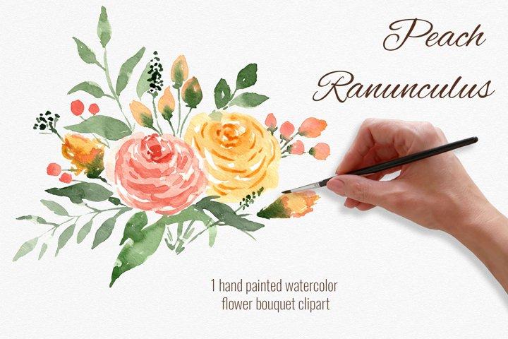 Peach flowers bouquet. Watercolor ranunculus clipart.