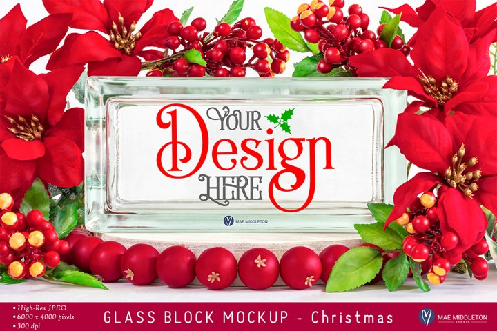 Glass Block Mockup | Christmas styled photo