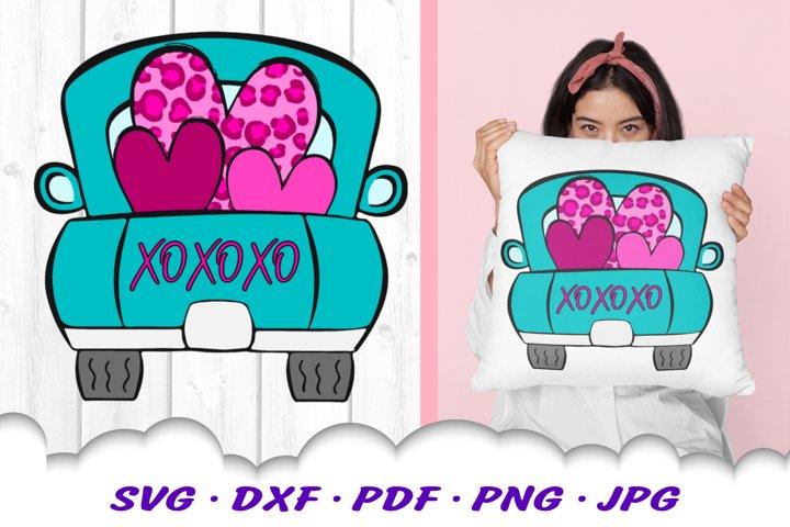 Valentines Truck Leopard Print Heart SVG DXF Cut Files