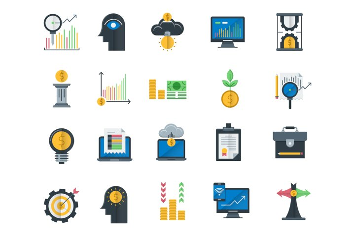 Analytics and investment flat icons set