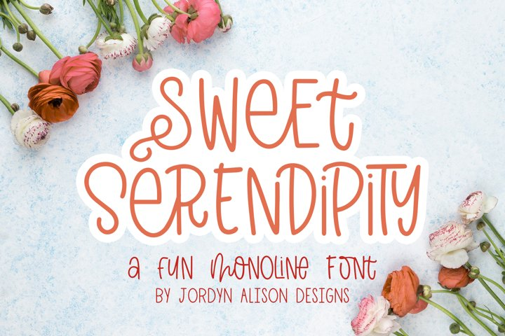 Sweet Serendipity, Quirky Monoline Font