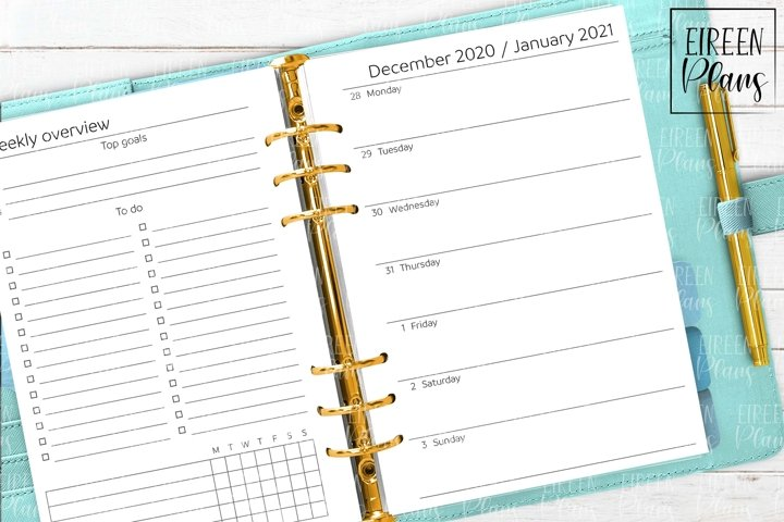 2021 Weekly printable inserts for A5 planners