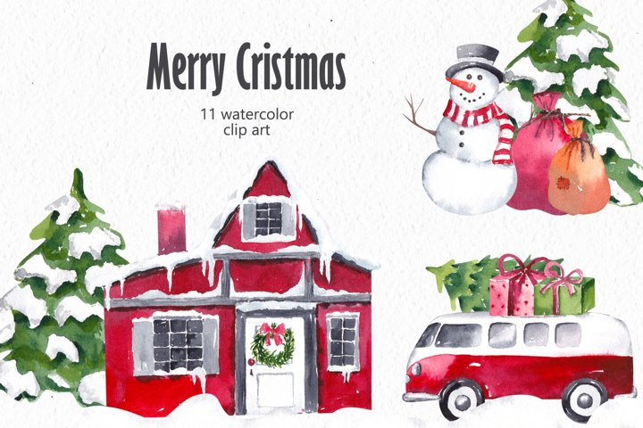 Christmas Clipart, Watercolor Winter Clipart
