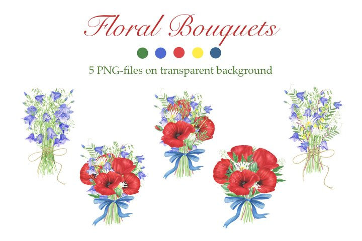 Watercolor Poppies and wildflowers bouquets clipart
