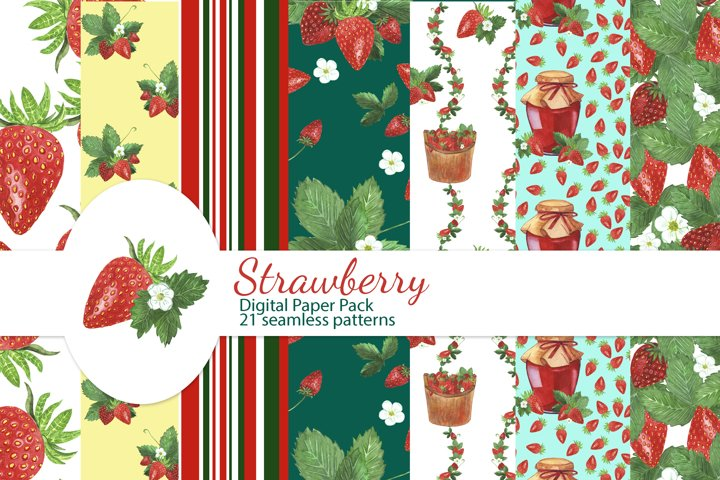 Strawberry Digital Paper Pack, Strawberry seamless pattern