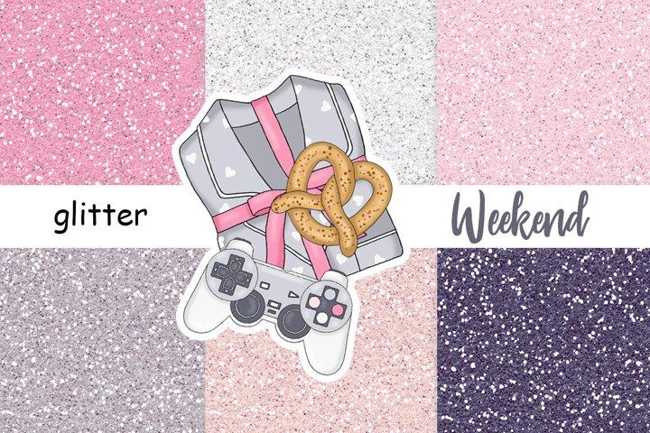 Weekend GLITTER Metallic Gray Pink Blue Pastel Bright JPEG