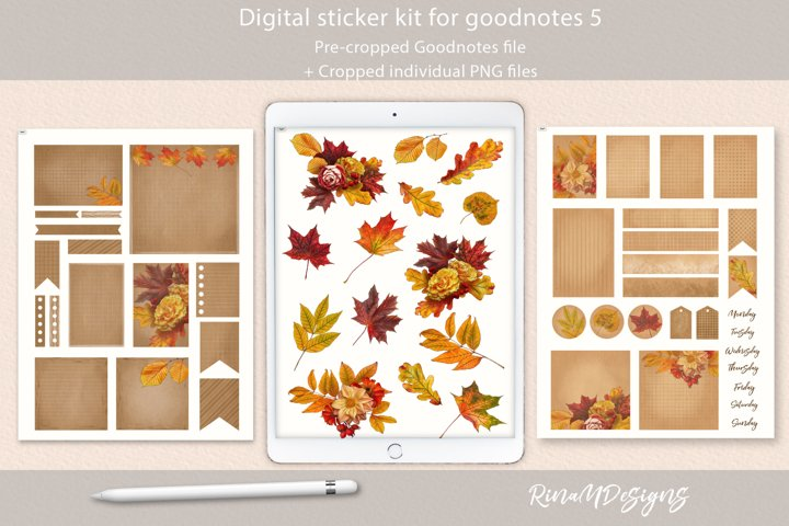 Fall Goodnotes stickers. Autumn digital planner stickers
