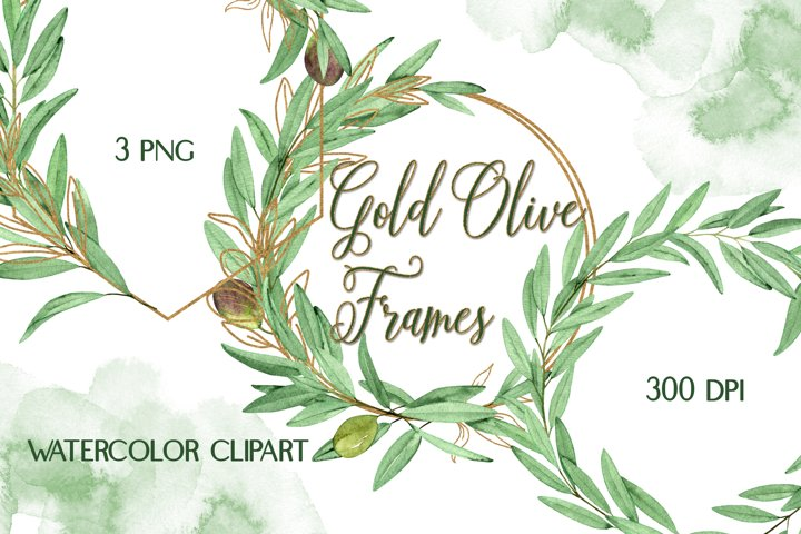 Watercolor Olive Gold Frames Clipart