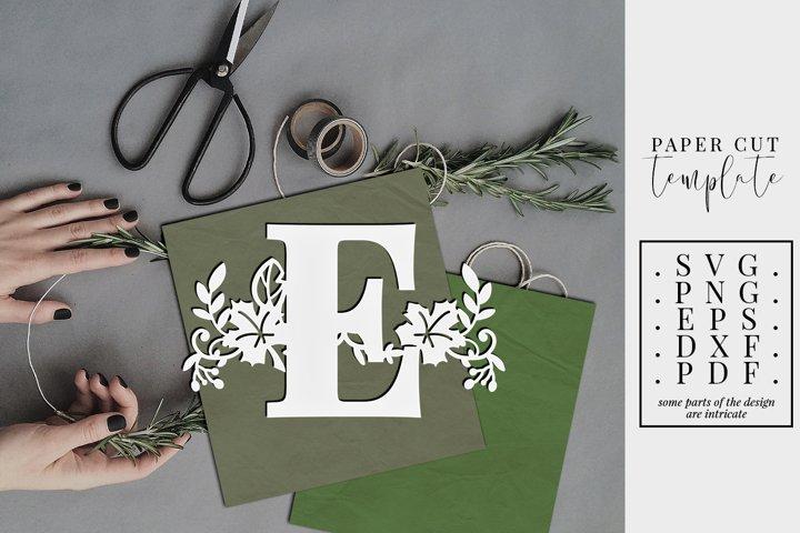 Fall letter E, single initial paper cut template, autumn svg