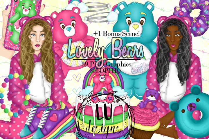 Lovely Bears Clipart, Rainbow Teddy Bears Party Graphics