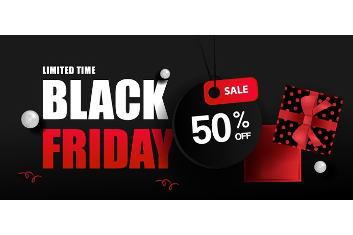 Black Friday Sale with Open Gift Box