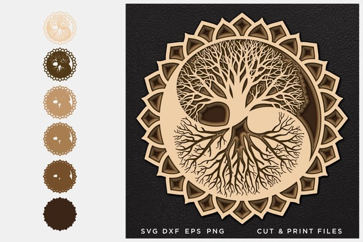 Tree of Life svg, Cut file Yin Yang, Multilayer, Layered svg