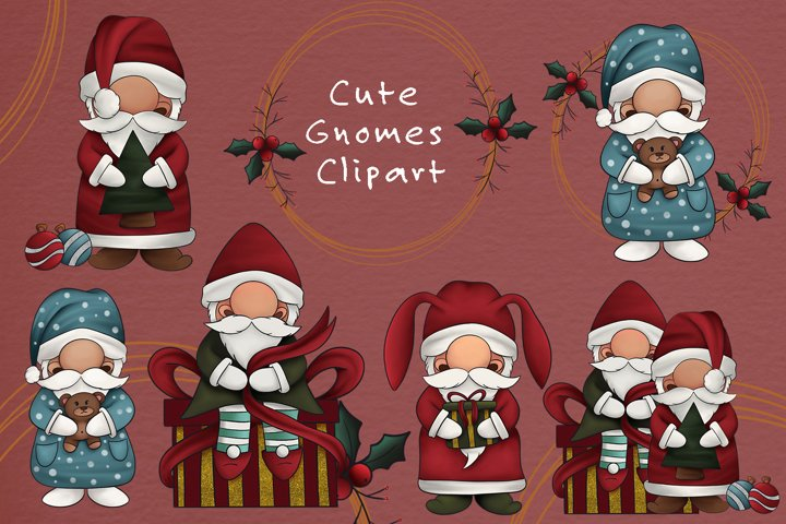 Christmas Gnomes Clipart Nordic Gnomes Illustration