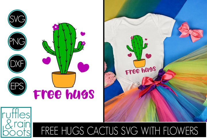 Free Hugs Cactus SVG with Flowers and Hearts in Planter