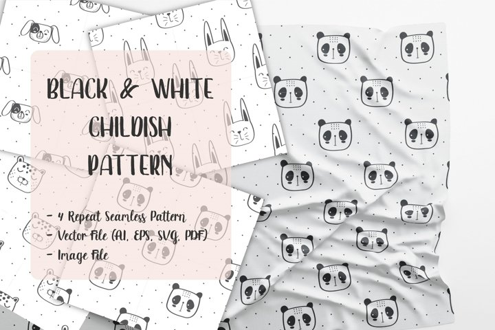 Repeat Seamless pattern of black and white animals