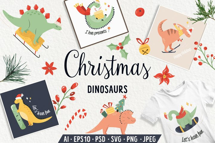 Christmas Dinosaurs. Prints, Patterns, Icons. SVG, PNG set