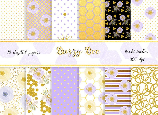 Honey bee digital paper pack. 12x12 inches