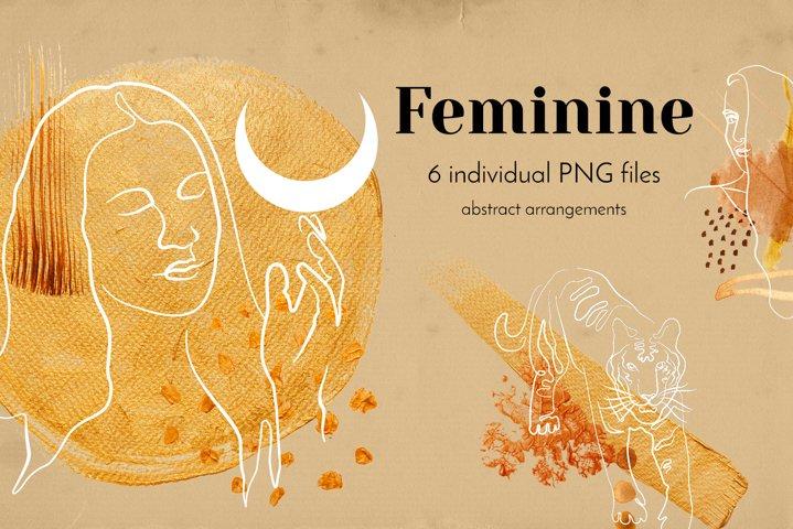 Feminine. Single Line Drawings and golden paint brush stroke