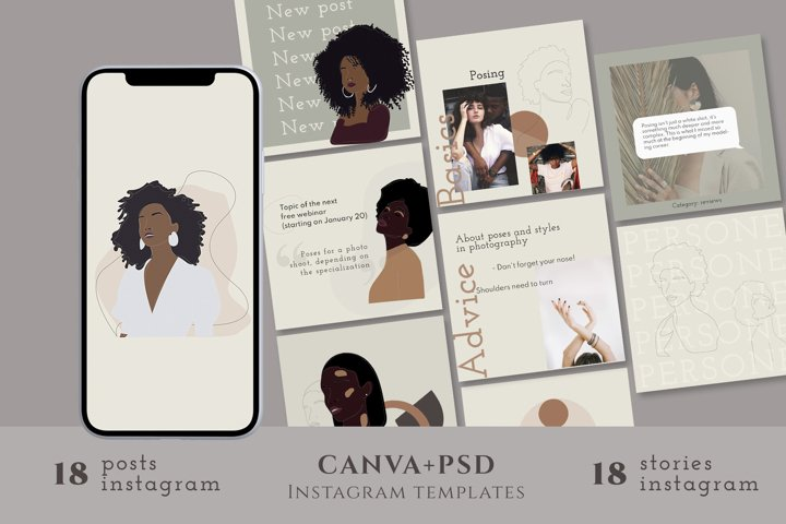 36 womens illustrated Canva templates and photoshop
