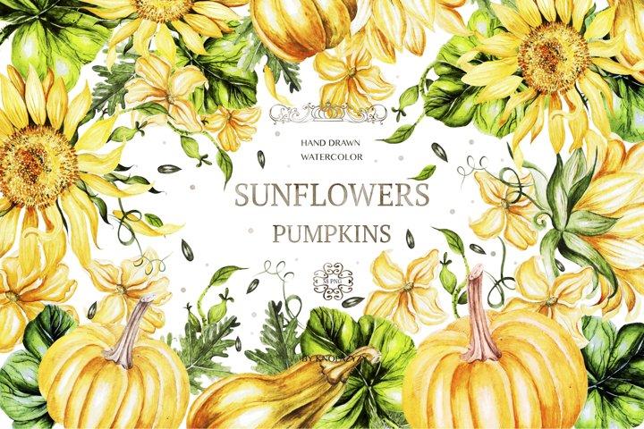 Watercolor Sunflower & Pumpkins 2