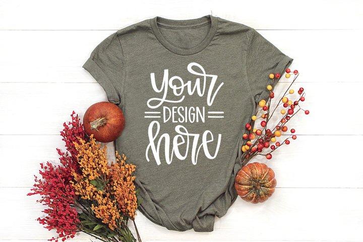 Shirt Mockup, Fall Mock Up, Flat Lay With Pumpkins