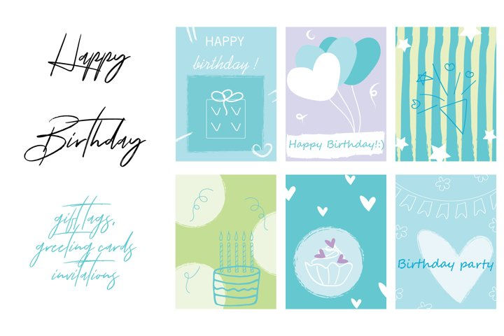 Happy Birthday Greeting Cards, Gift Tags Or Invitations