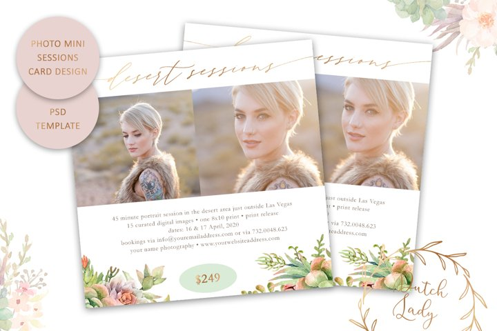 PSD Photo Mini Session Card Spring Template - #65
