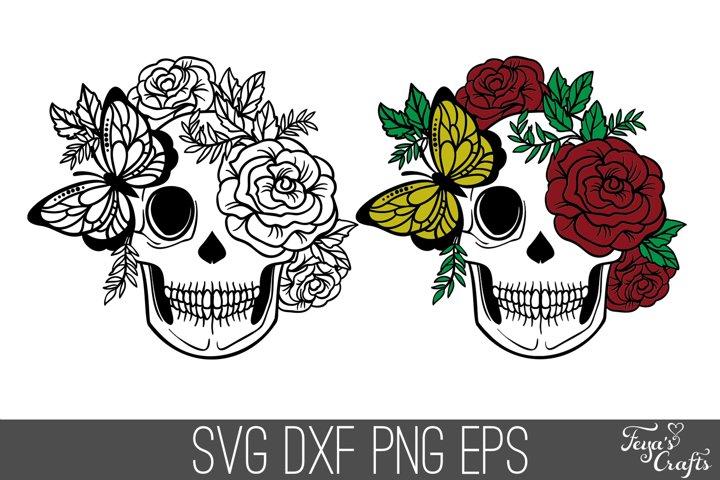 Floral Skull SVG File | Layered Skull SVG DXF Cut Files