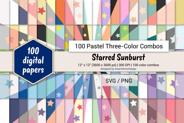 Starred Sunburst Digital Paper-100 Pastel Three-Color Combos