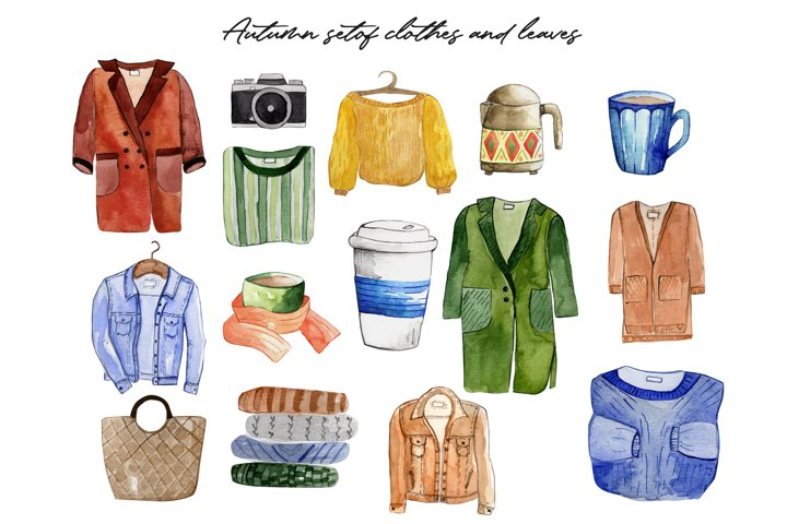 PNG Watercolor autumn set of items