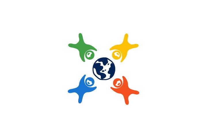 Kids and World Logo Design Vector Illustration