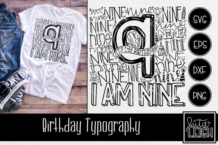 Ninth Birthday Typography