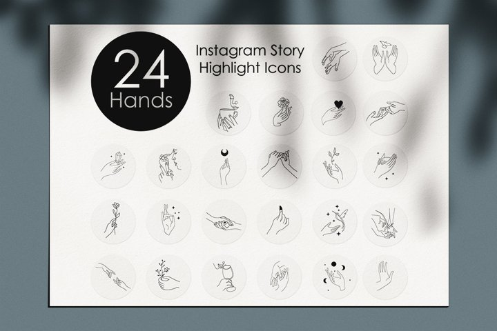 Hands Instagram Story Highlight Icons. boho icons