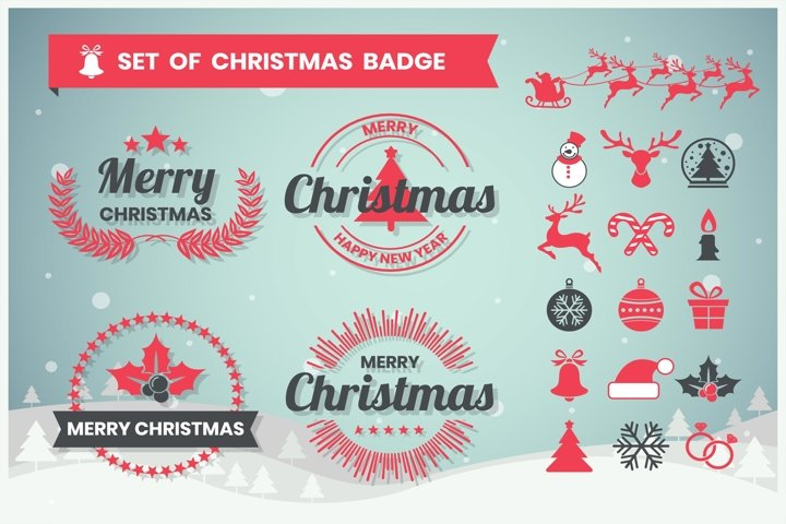 christmas Badge & Objects Vector Set