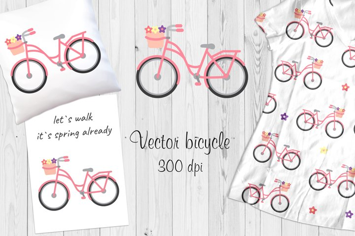 Vector pink bicycle