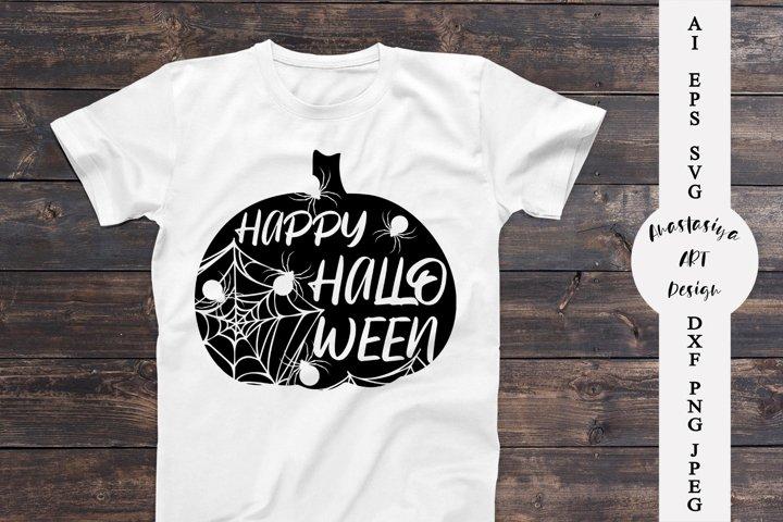 Happy halloween svg, Spider web svg, Pumpkin halloween dxf