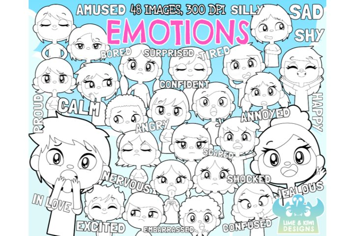 Emotions Digital Stamps - Lime and Kiwi Designs