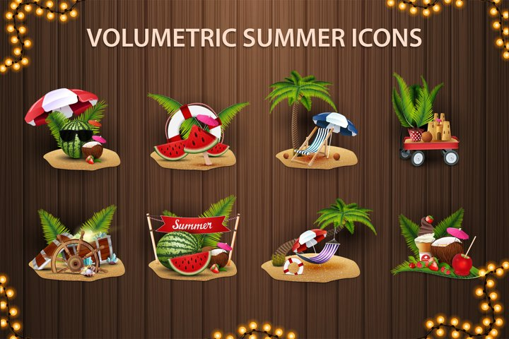 Summer volumetric vector icons in cartoon style