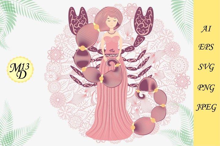 Zodiac sign Scorpio. Woman in a dress with braids