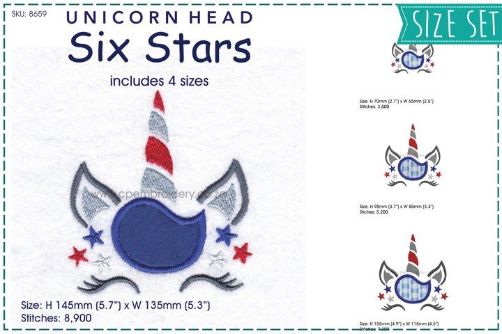 Unicorn Head Six Stars Applique Embroidery Design